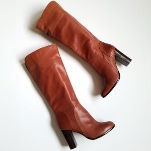 Halogen Brown Leather Knee High Boots Size 9W